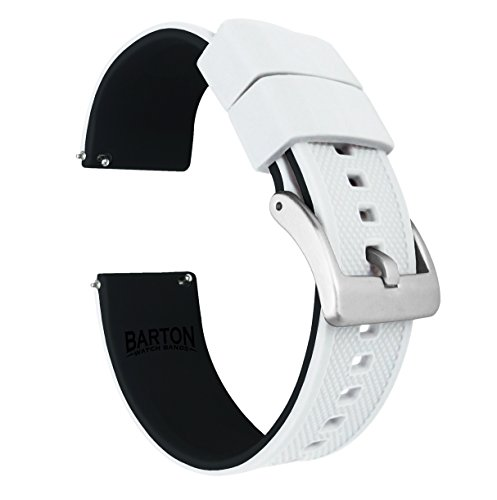 Barton Elite Silicone Watch Bands - Quick Release - Choose Strap Color & Width - White/Black - Stainless Graduate Steel Watch