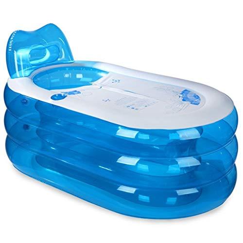 - Baby bathtub, Portable Child Adult Inflatable Bathtub Tub Wash Basin Plastic Bath Barrels Plunge Bath Blue Transparent With Backrest TINGTING (Color : Blue, Size : 1538873cm)