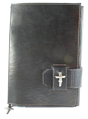Amazing Leather Products Latigo Bible Cover with Slide Closure, Adorned with A Pewter Finish Cross, Durable Leather Bible Cover for Men/Women/Teens/Children, - Bible Durable Cover