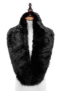 Changuan Extra Large Women's Faux Fur Collar Warmer Scarf Wrap for Winter Coat