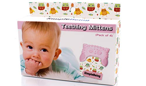 Simple Being Baby Teething Mittens (4-Pack, Pink), BPA Free Silicone Glove Teether for Babies, Breathable Adjustable Chew Mitt, Soothes Sore Gums, Sensory Stimulating, Machine Washable