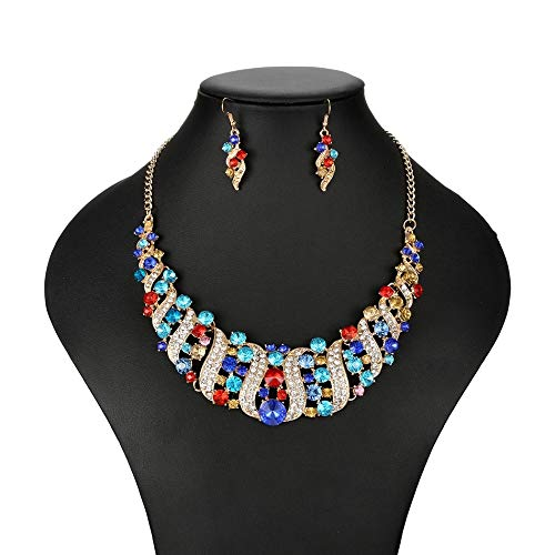 Metal Color: as Picture Davitu Women Necklace Statement Necklaces /& Pendants Colorful Rhinestone Necklace for Women Jewelry Nl605