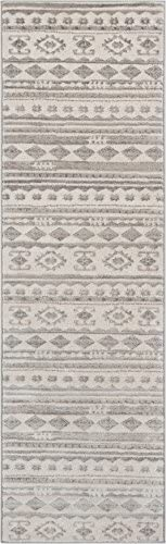 Well Woven Mezzo Vintage 2×7 2 3 x 7 3 Runner Area Rug Ivory Grey Softex Microfiber High-Low Pile Vintage Abstract Erased Modern Geometric Ethnic Tribal Carpet