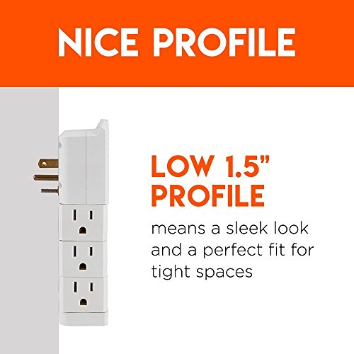 Large Product Image of ECHOGEAR On-Wall Surge Protector with 6 Pivoting AC Outlets & 1080 Joules of Surge Protection - Low Profile Design Installs Over Existing Outlets to Protect Your Gear & Increase Outlet Capacity