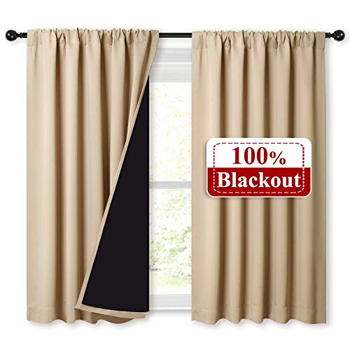 NICETOWN Bedroom Full Blackout Curtain Panels, Super Thick Insulated Rod Pocket Window Covers, Blackout Draperies with Black Liner for Short Window (Biscotti Beige, Set of 2 Pcs, 52 by 45-inch)