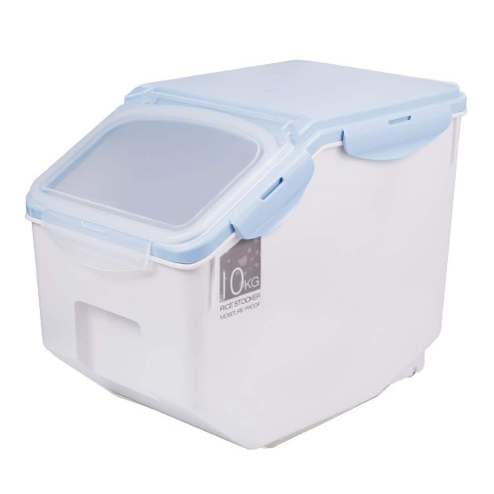 Blu Jia Lui Pet contenitore sec o di cibo Cane scatola sigillata botte di riserva di cibo gatto barile di contenitore di prova idrata contenitore contenitore contenitore di riserva di animali con la misura di tazza 2 colori (colore: blu)