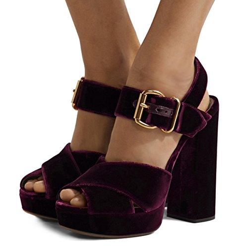 XYD Chic Chunky Heel Peep Toe Sandals Velvet Platform Slingback Cross Strap Dress Pump Shoes Size 15 Purple