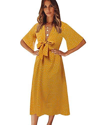 SOLERSUN Women's V Neck Polka Dot Loose Swing Casual Summer Tie Front Midi Dress (XXL, Yellow) (Xxl Midi Dress)