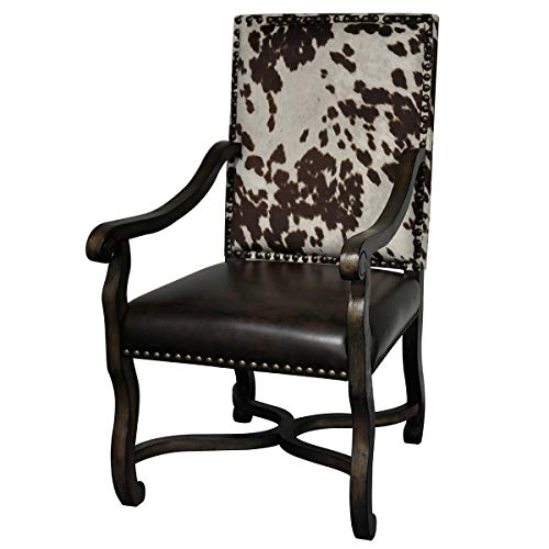 Black Forest Decor Mesquite Ranch Leather and Faux Cowhide Arm ()