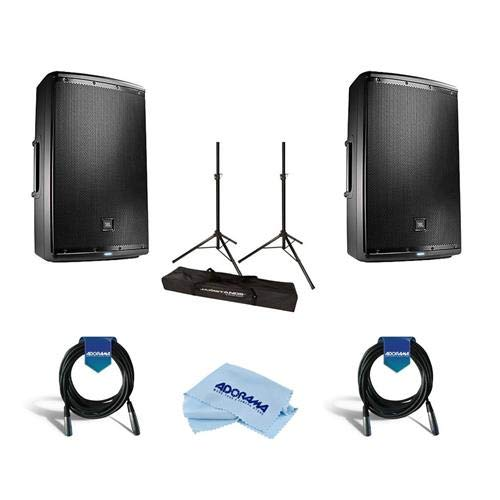 (JBL 2 Pack EON615 15in Class D Two-Way Multipurpose Self-Powered Sound Reinforcement Speaker, 50Hz-20kHz, Single - Bundle with Ultimate JamStands JS-TS50 Tripod-Style Speaker Stand 6' Pair, And More)