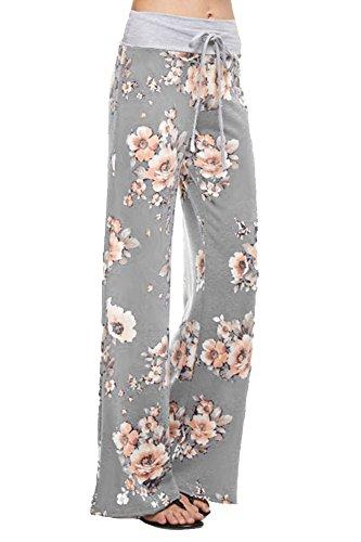 Marilyn & Main Women's Comfy Soft Stretch Floral Polka Dot Pajama Pants (Large, Heather Grey (Cambridge Blossom)