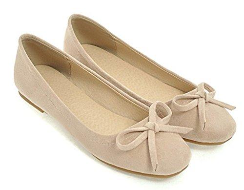 Aisun Women's Sweet Square Toe Faux Suede Flat Loafer Shoes Beige bAlWjU