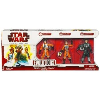Star Wars, 2009 Legacy Collection, Evolutions Exclusive Action Figures, Rebel Pilot Legacy Series III (3), 3-Pack, 3.75 Inches