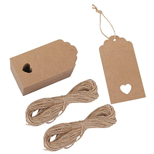 (Tojwi 100pcs Hollow Heart Kraft Paper Gift Tags Wedding Party Favours (Brown))