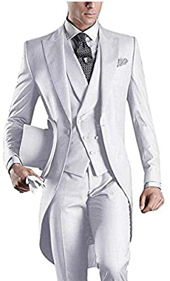 Men's White 3PC Long Tailcoat Suit Notch Lapel One Button Wedding Suits Groom Tuxedos