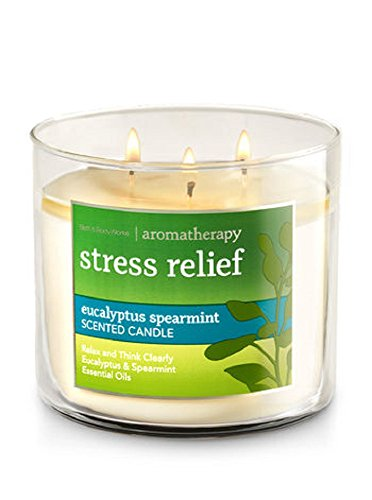 (Bath and Body Works 3-wick Limited Edition Candle AROMATHERAPY COLLECTION (Stress Relief - Eucalyptus Spearmint) )