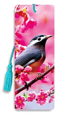 3D Bookmarks with Tassel   Bird on Cherry Blossom   Lenticular Cute & Cool Bookmark for Women, Men, Girls, Boys & Kids   Funny & Unique Book Separator & Markers   Inspirational Nature & Animals -