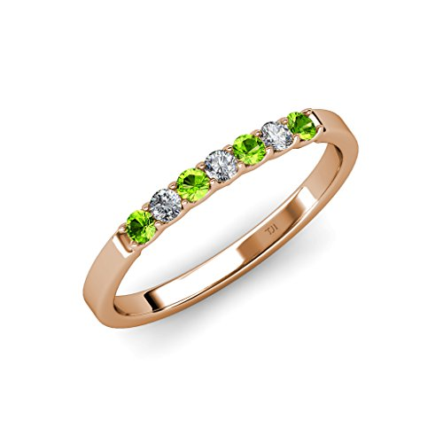 TriJewels Peridot and Diamond (SI2-I1, G-H) 7 Stone Wedding Band 0.25 ct tw in 14K Rose Gold.size 9.0