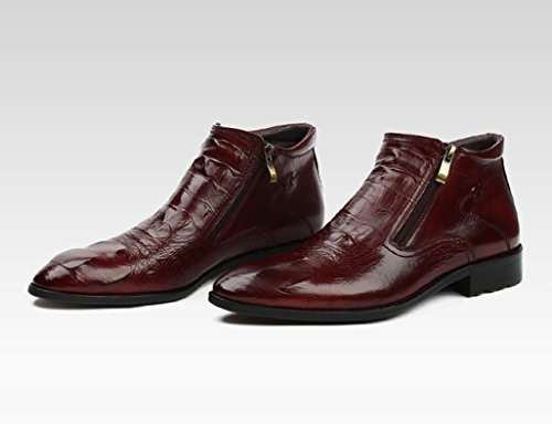 Hombre alto Boots tacón cuero EU37 Negro 4 cortas Martin Color Botas Estilo británico puntiagudos Clásicos Piel para de de Tamaño los Ropa de formal Moda UK4 de Zapatos hombres Zapatos Marrón Zapatos vIwzqBfnFn