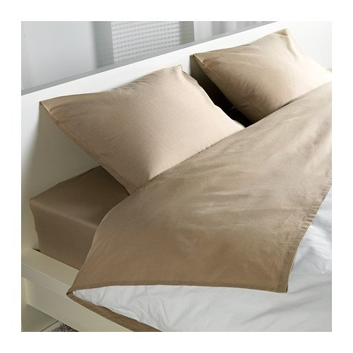 Elegant Ikea Dvala (4) Piece Queen Beige Sheet Set, 100% Cotton