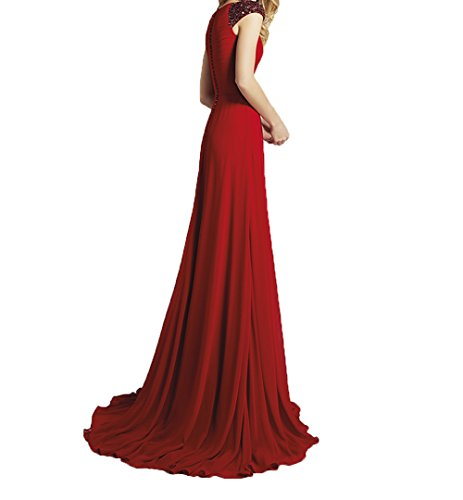 Ausschnitt Dunkel A Linie Charmant Lang Abschlussballkleider V Abendkleider Promkleider Tuerkis Brautjungfernkleider Damen Kurzarm Rot 76qxt6U