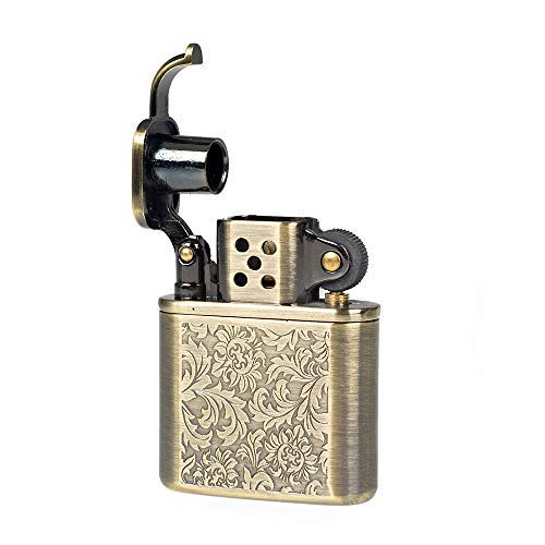 (Pure Copper Antique Style Lift Arm Oil Petrol Metal Cigarette Lighter (Flowers))