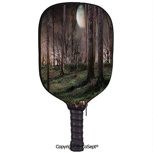 PUTIEN Neoprene Racket Set,Dark Night in The Forest with Full Moon Horror Theme Grunge Style Halloween,Protect Your Paddles from Scrapes & Dings(8.26x11.61 inch) Brown Green Yellow