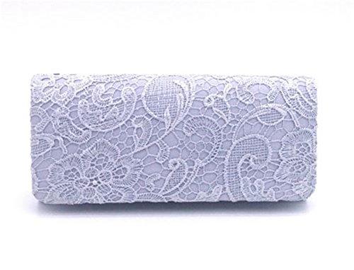 Nodykka Wedding Pleated Floral Lace Clutches Bag Evening Cross Body Handbags (Metallic Satin Clutch)