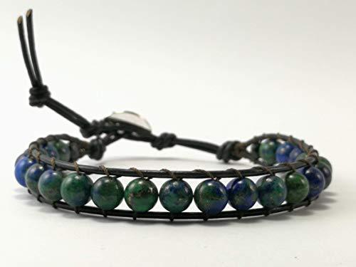 Azurite Malachite Beaded Single Wrap Leather Bracelet - Size 6.5-7.5 inches,WAM
