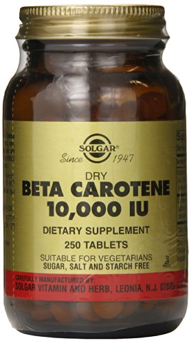 Solgar Dry Beta Carotene 10,000 IU Tablets, 250 Count
