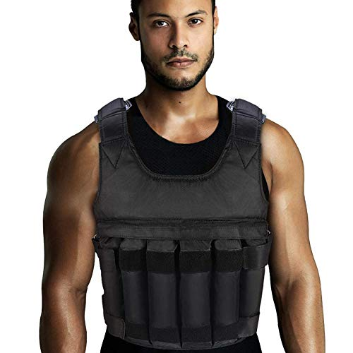 Yosoo Health Gear Weight Vest with Shoulder Pads and 12 PCS Pockets for Man and Woman, 0-110 LBS, Weight Vests for Running, Cross Training, Aerobic Exercise, Sprints, Push ups, Sit-ups, Powerlifting
