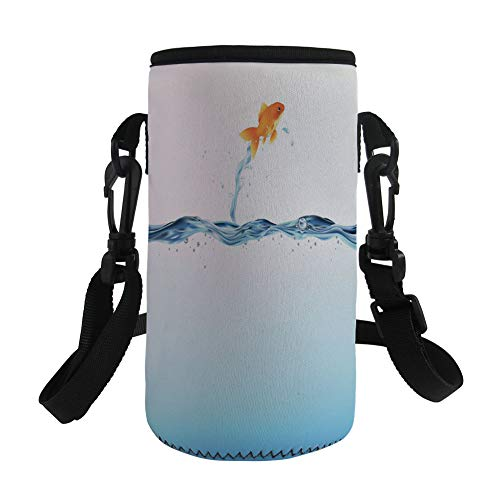 iPrint Small Water Bottle Sleeve Neoprene Bottle Cover,Aquarium,Little Goldfish Leaping Out Small Water Bravery Challenge Freedom Theme Decorative,Blue Light Blue Orange,Great Stainless Steel Plas by iPrint