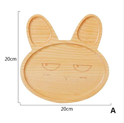 DeemoShop Cute Cartoon Innovative Rabbit Plate With Divided Tray Appetizer Platter 3 Compartment Dinner Plate For Dessert Fruit dishe -