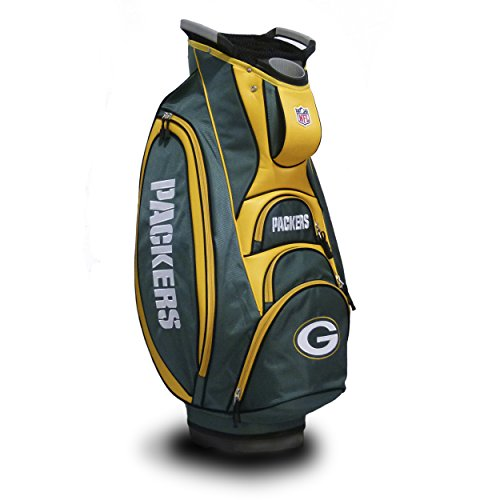 Team Golf NFL Green Bay Packers Victory Golf Cart Bag, 10-way Top with Integrated Dual Handle & External Putter Well, Cooler Pocket, Padded Strap, Umbrella Holder & Removable Rain Hood -