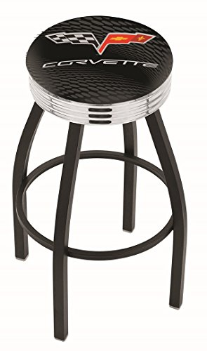 Holland Bar Stool L8B3C Corvette C6 (Black Vinyl) Swivel Counter Stool, 25""