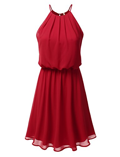 DRESSIS Womens Double Layered Chiffon Mini Tank Dress RED 2XL