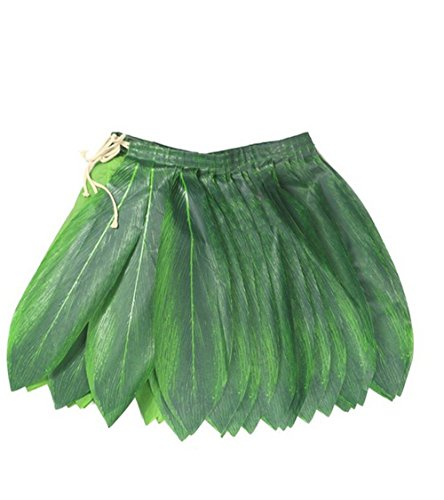 BOSHENG Ti Leaf Hula Skirt Luau Party Accessory Green Skirt Adult -