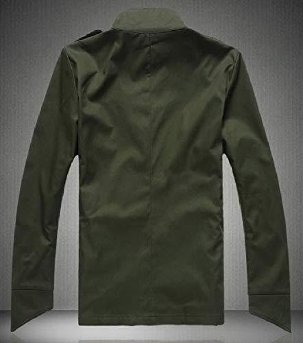Bavero Più Lunga Del Mens Manica Tasca fit Trim Pulsante Cappotto Xinheo Militare Dimensione Verde Del Rivestimento Rq1OS