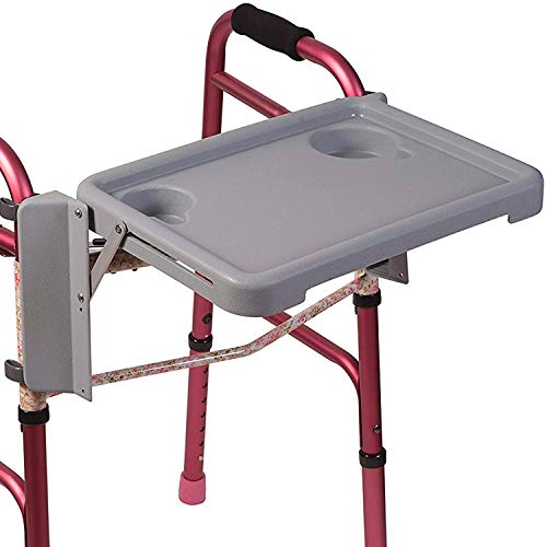 DMI Universal Folding Walker Tray with Two Cup Holders and Tool Free Setup