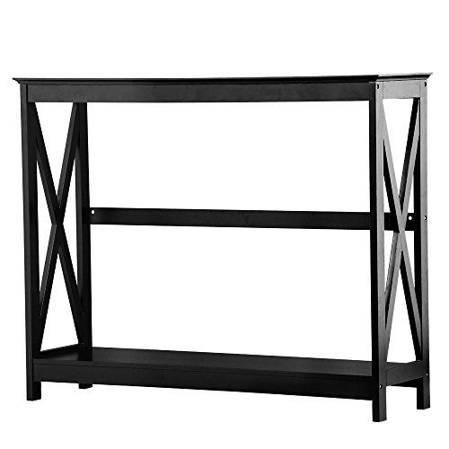 Yaheetech 2 Tier X-Design Occasional Console Sofa Side Table Bookshelf Entryway Accent Tables w Storage Shelf Living Room Entry Hall Table Furniture Black