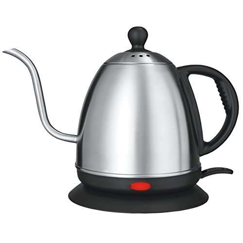 Stainless Steel Electric Kettle 1 L | Rust Proof | Precise Curved Gooseneck Kettle For Spill Free| Heat Fast | LCD Display Auto Shut-Off | Cordless Teapot For Coffee, Boiling Water, (Strix Controller) (Pots For Water Boiling)