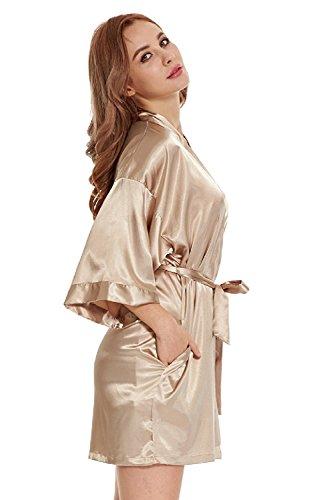 TIMSOPHIA Womens Satin Kimono Short Robe Embellished With Rhinestones For Wedding Party (S, Yellow)