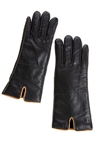 Two Tone Lamb (Women's Two-Tone Lambskin Leather Gloves with Shearling Lining)