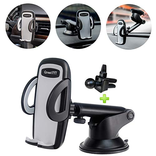 GreatYYT 3-in-1 Car Phone Mount, Air Vent & Dashboard & Windscreen Car Phone Mount Holder for Cell phone X 8 8Plus 7 7Plus 6 6s 6Plus 5s Samsung Galaxy S8 S7 S6 note 8 7 LG Nexus Sony Nokia GPS etc from GreatYYT