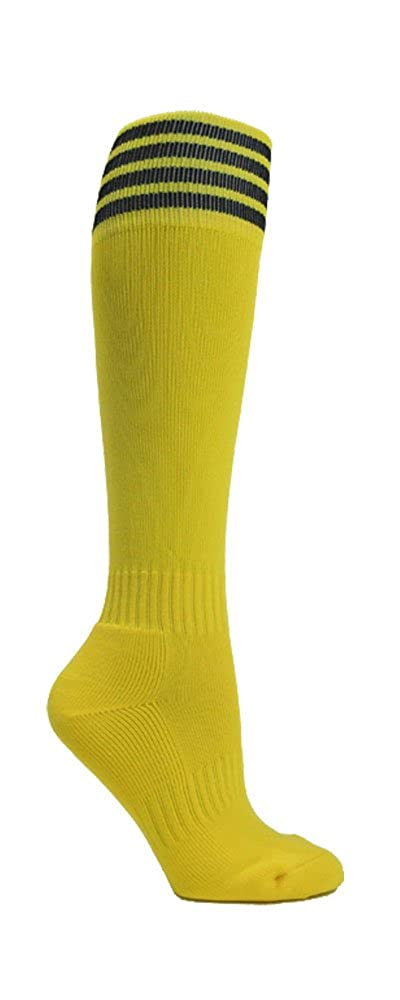Bright Yellow Striped Youth Football Soccer Sport Knee High Socks(1 Pair) Black Large SS400-BRTYLW_BLK-S-C