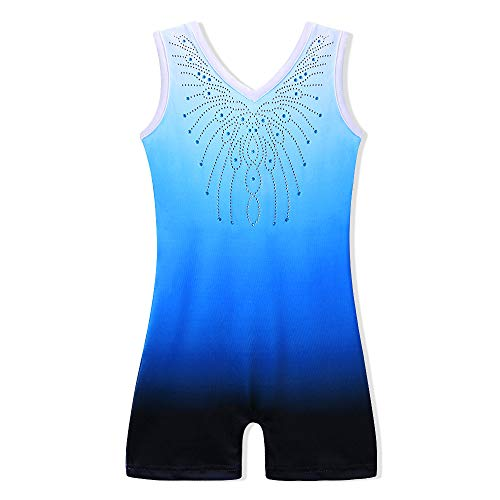 BAOHULU Leotard for Girls Gymnastics Toddler Sparkle Stripes Tank Biketards One Piece B175_Blue_120