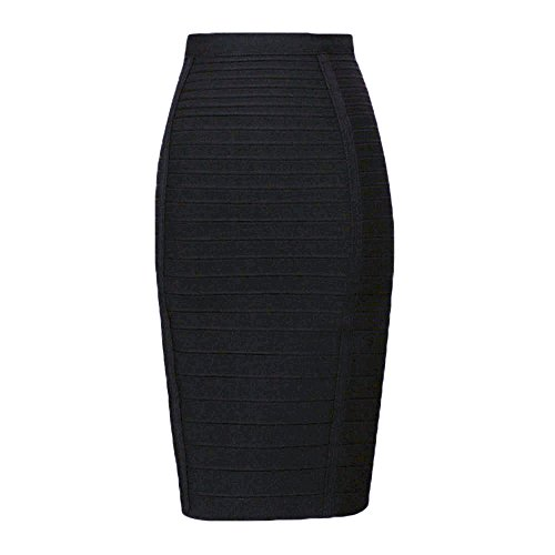 (HLBandage Women's High Waist Elastic Rayon Bandage Pencil Skirt(S, Black))