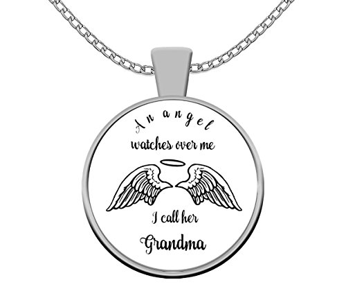 (Grandma Guardian Angel Pendant Necklace ~ Round Silver Plated Charm And Chain ~ Key Ring Purse Charm Locket ~ Whimsical Memorial Gift)