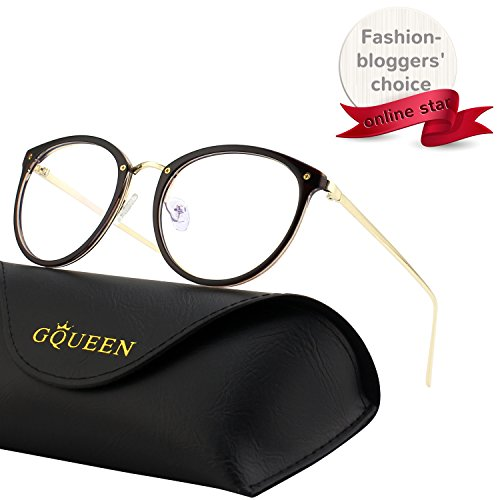 GQUEEN Fashion Blue Light Blocking Computer Glasses,Anti Glare Eye Fatigue with TR90 Frame and Metal Arm,Transparent ()