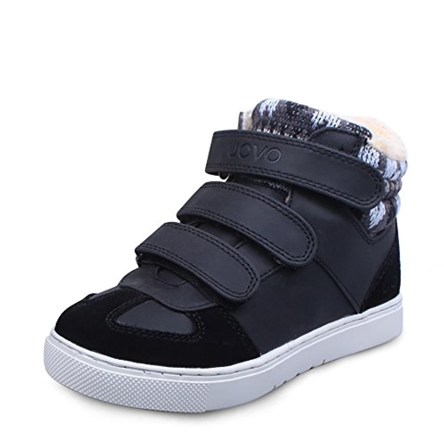UOVO Casual High-top Shoes With 3 Velcros for Kids Boys Girls (UK Size 1/EU 33/US Size 2, Black Brown)